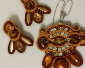 Parure soutache necklace & earrings handmade in Italy by KIMA