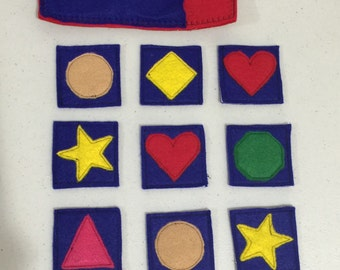 FELT - Shapes matching game, memory Pair game, felt matching toy