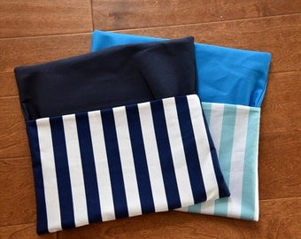 10 Small Stripe Chair Pockets, Seat Sack, Available in Many Colors