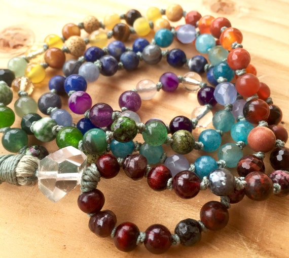 6mm Chakra Mala Beads , Petite 7 Chakra Beads, Herkimer Diamond, Balance 7 Chakra ,108 Beads Therapeutic Healing Mala Beads, Aura Cleanser