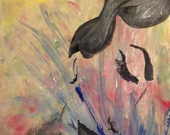 Watercolor Portrait Print, watercolor print, woman portrait, beautiful, LOVE, colorful
