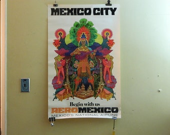 Vintage 1970s Mexico City Aero Mexico Airlines Travel Poster