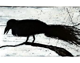 Crow Painting Panel Wall Art - Minimalist Decor - Mixed Media Art - Mixed Media Painting - Gothic Home Decor - Raven Art