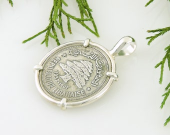Lebanon Coin Jewelry with Vintage 50 Piastres Silver Coin Jewelry in Handmade Pendant Setting