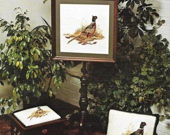 Pheasant Cross Stitch Needlepoint Pattern, Leaflet, Vintage