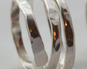 Sterling silver hammered wrap ring