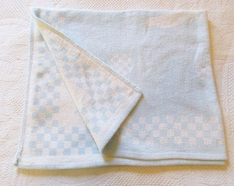 A Vintage Baby Blue and Lighter Blue Reversible - Cotton Fleece Blanket - Checks and Rabbits - Rolled Hem - Display - Re-purpose