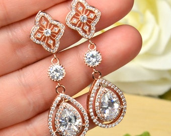 Rose gold long Jewelry Drop Earrings Dangle Earrings Bridal Earrings Bridal Jewelry Wedding Jewelry Bridesmaid Gift,Clear crystal cz diamond