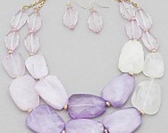 Lavender Opaque Statement Necklace Set, Lavender Bead Necklace, Statement Necklace
