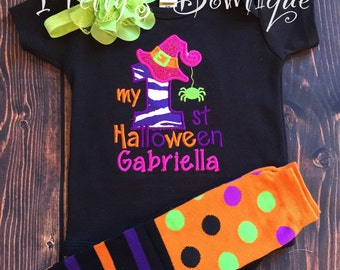 1st Halloween Girl Outfit with Halloween Shirt or Bodysuit, Tutu, Bloomers, Leg Warmers and Headband Sizes 3 Months to Youth XL