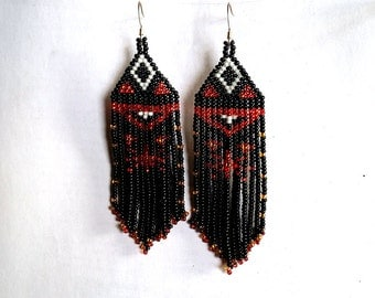 Native  American Beaded Earrings  Inspired. White Red Black Earrings. Gift For Her