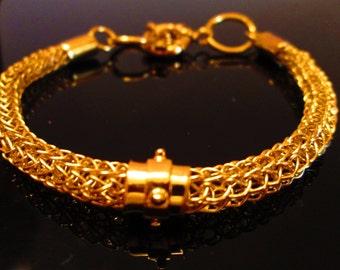 24K Gold Vermeil Exotic Viking Knit Bracelet with 4 Stud Spinner Bead