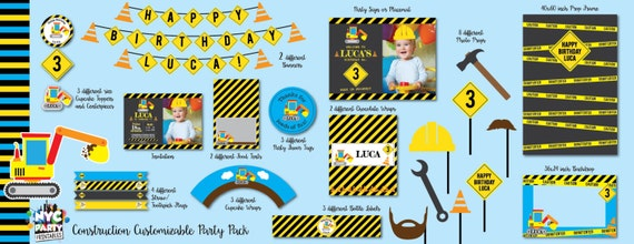 Construction Birthday Party Printable Party Pack Birthday Party