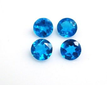 Neon Apatite 5mm Round Top Excellent Neon Blue Color Great Luster and Brilliance (10986)