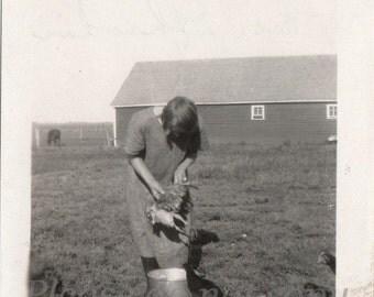 Vintage Photo ~   plucking the chicken ~ farm life