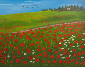 Country home near field of poppies