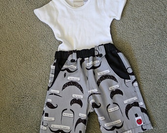 Moustaches Longies baby boy or toddler boardshorts  size 1