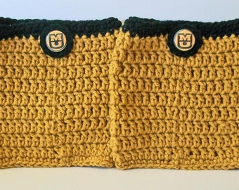 Trendy Black and Gold Tigers Mizzu Inspired Hand Crocheted Boot Cuffs Cute Accessory 5 Sizes Available