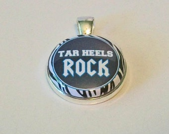 Unique Zebra Print Blue Tar Heels Rock Inspired Round Silver Pendant