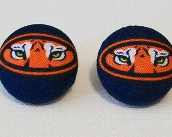 Fun Orange and Blue Tigers Inspired Fabric Button Pierced Earrings