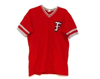 Vintage 80s baseball jersey red F for effort?