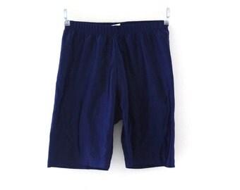 Vintage 80s spandex shorts navy blue bike shorts workout wear