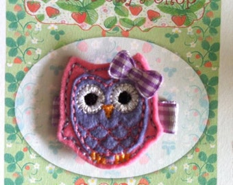 Pink and Purple Owl Hair Clip