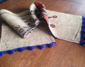 Modern farmhouse table centerpiece runner from recycled coffee bag burlap and pom pom trim