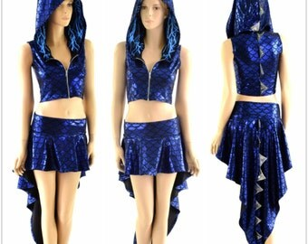 2PC Blue Dragon Zipper Front Sleeveless Crop Hoodie / Silver Holo Spikes / Blue Lightning Hood Liner / Matching Dragon Tail Skirt 152858
