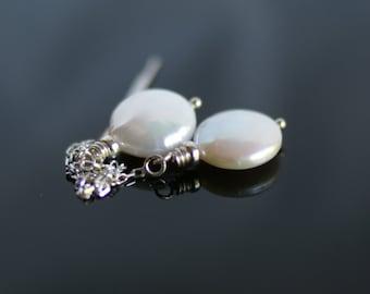 Pearl threader earrings, freshwater coin pearl drop earrings, silver ear threads, jewelry gift, bridal earrings, gift for her, ear threads