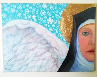 Original Contemporary Angel Painting with Gold Leaf Halo and gold blocked canvas edges