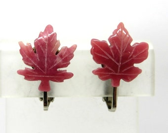 Rose Pink Lucite Earrings, Vintage Small Leaf Clip-on Earrings