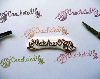 Crocheted Rubber Stamp, Crocheted By, Crochet, Yarn Hand Carved Rubber Stamp, Knitters, Wool and Needles