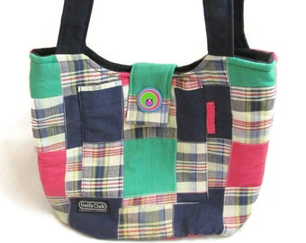 Handmade Madras Plaid Patchwork Fabric Purse
