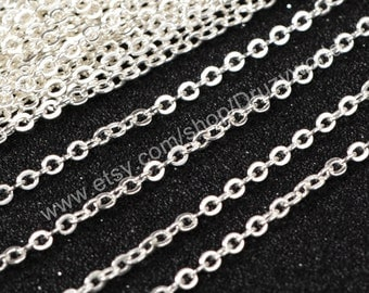 "16"" Silver Plated Finished Chain Necklace Making Jewelry Finding Flat Cable Chain Losbter Clasp Lead Nickel Free Silver Chain PJ003-16-S"