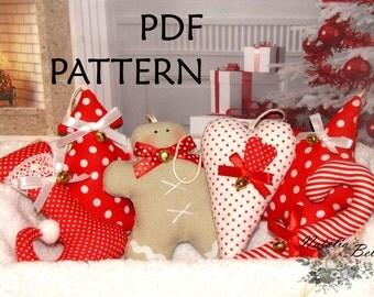 PDF Pattern.  Christmas Ornament Sewing Pattern. Set of 6 pcs. Instant Download. Digital PDF Files.