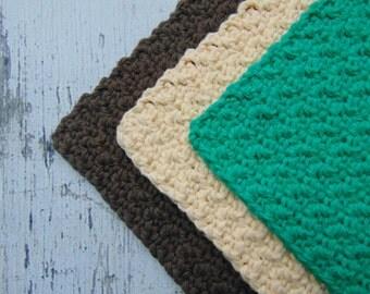 Set of 3 Cotton Crochet Dishcloths,Crochet Dish Cloths,Crochet Washcloths