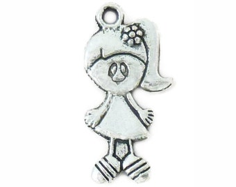 10 Silver Girl Charm Pendant 27x14mm by TIJC SP0666