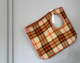 Blanket bag, wooo leather tote,Italian -Dutch eco design, bag, giant winter tote, recycled mode, dutch blanket, minimalistic, gift. JJePa