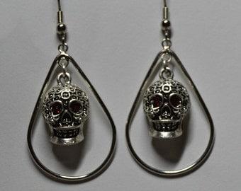 Skull Medium Teardrop Earrings