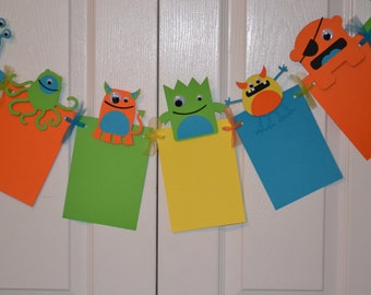 Monster Photo Banner for Birthday, Parties and MORE - 12 frame w/ detachable favor clips