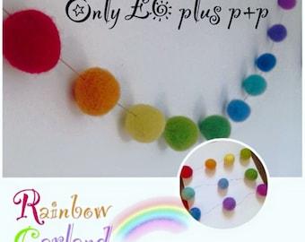 Rainbow felt garland