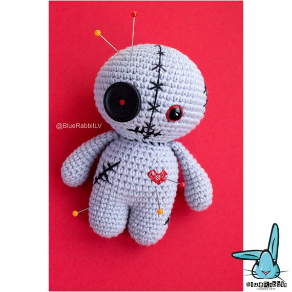 Crochet Amigurumi Voodoo Doll : Crochet amigurumi grey voodoo doll crochet monster fantasy