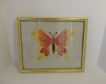 Vintage 70s Needlepoint Framed Art Yellow and Orange Butterfly
