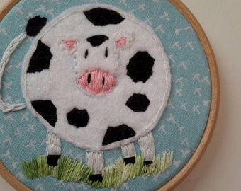 "50% off SALE Spring cow Handmade embroidery hoop art, 4"" hoop frame."