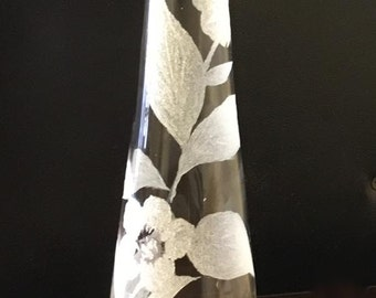 Etched Bud Vase, origina, one of a kind, rose bud vase
