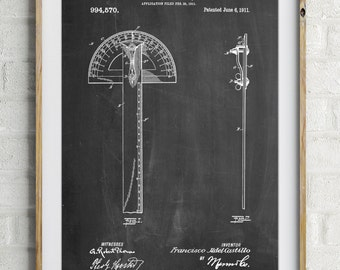Protractor T-Square Patent Poster, Contractor, Woodworking Tools, Tool Art, Architecture Gifts,  Office Art, PP1002