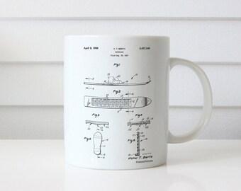 Magnetic Boot Snowboard Patent Mug, Ski Lodge Decor, Mountain Home Decor, Winter Mug, Snow Ski, Winter Mug, PP0358