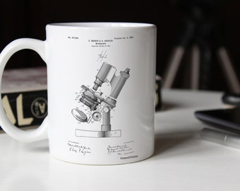 Microscope Patent Mug, Biology Teacher Gift, Pharmacy Student, Science Mug, Chemistry Mug, Tech Mug, PP0721