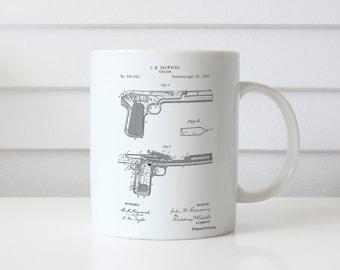 J.M. Browning Pistol Patent Mug, Firearm, Gun Enthusiast, Gun Mug, Police Gift, Man Cave, PP0894